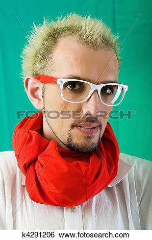 Stock Images of Man with red scarf against coloured background.