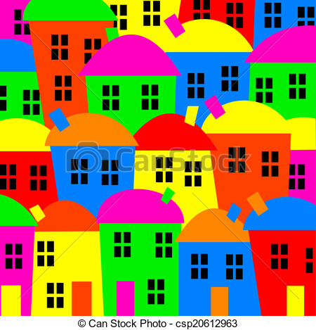 Stock Illustration of Colourful Village.