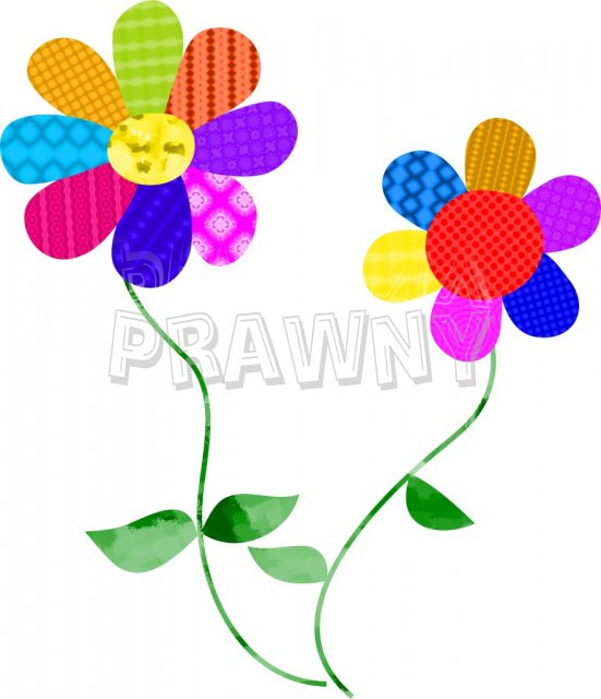 Colourful flowers clipart.