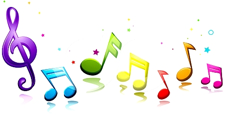 Colourful music notes clipart.