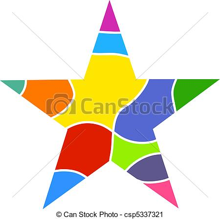Clipart of Colourful Star.