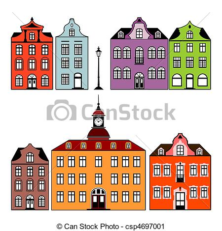 Vector Clip Art of Houses.