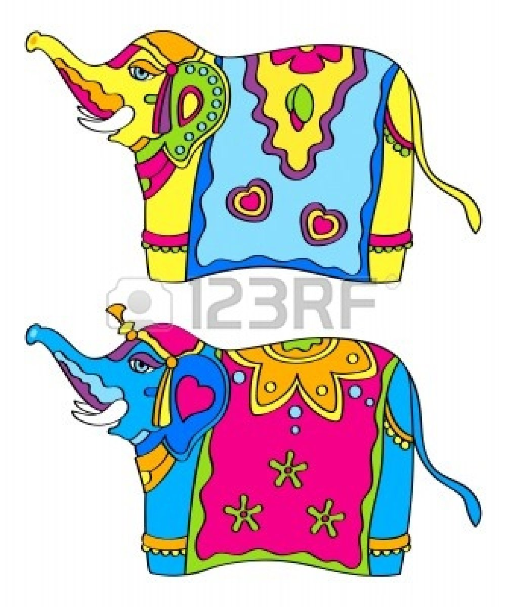 Decorated indian elephant clipart.