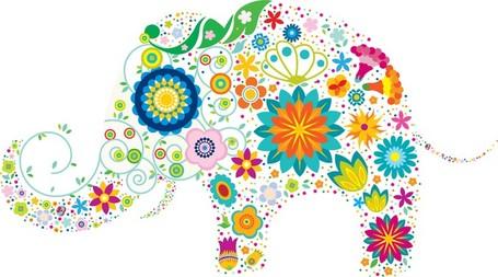 Colourful Elephant Clip Art, Vector Colourful Elephant.
