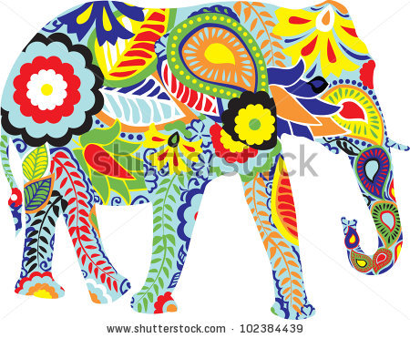Colourful Elephant Stock Images, Royalty.