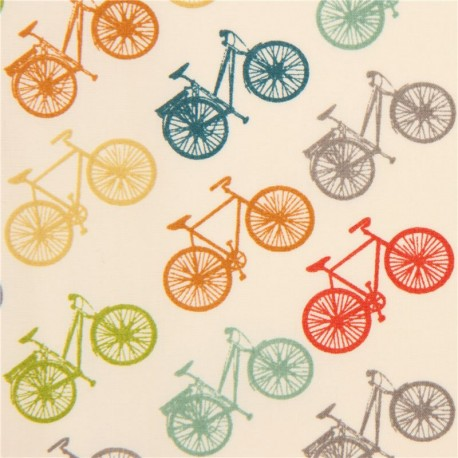 colourful bike organic fabric by birch from the USA.