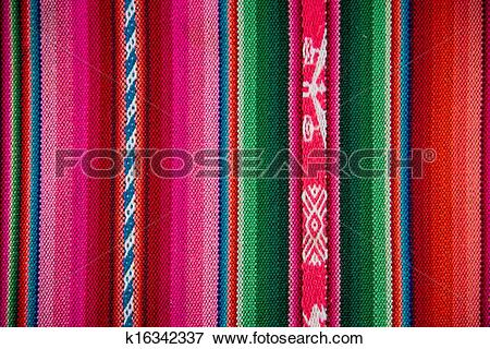 Picture of Wooven Wool Boliva traditional Fabric Background.