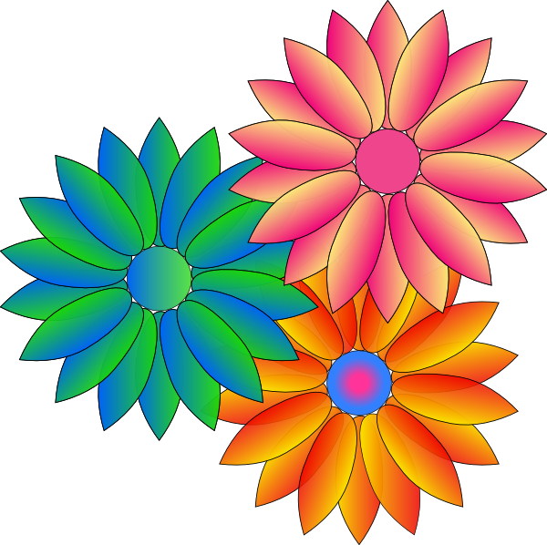 Coloured Daisies Clip Art at Clker.com.