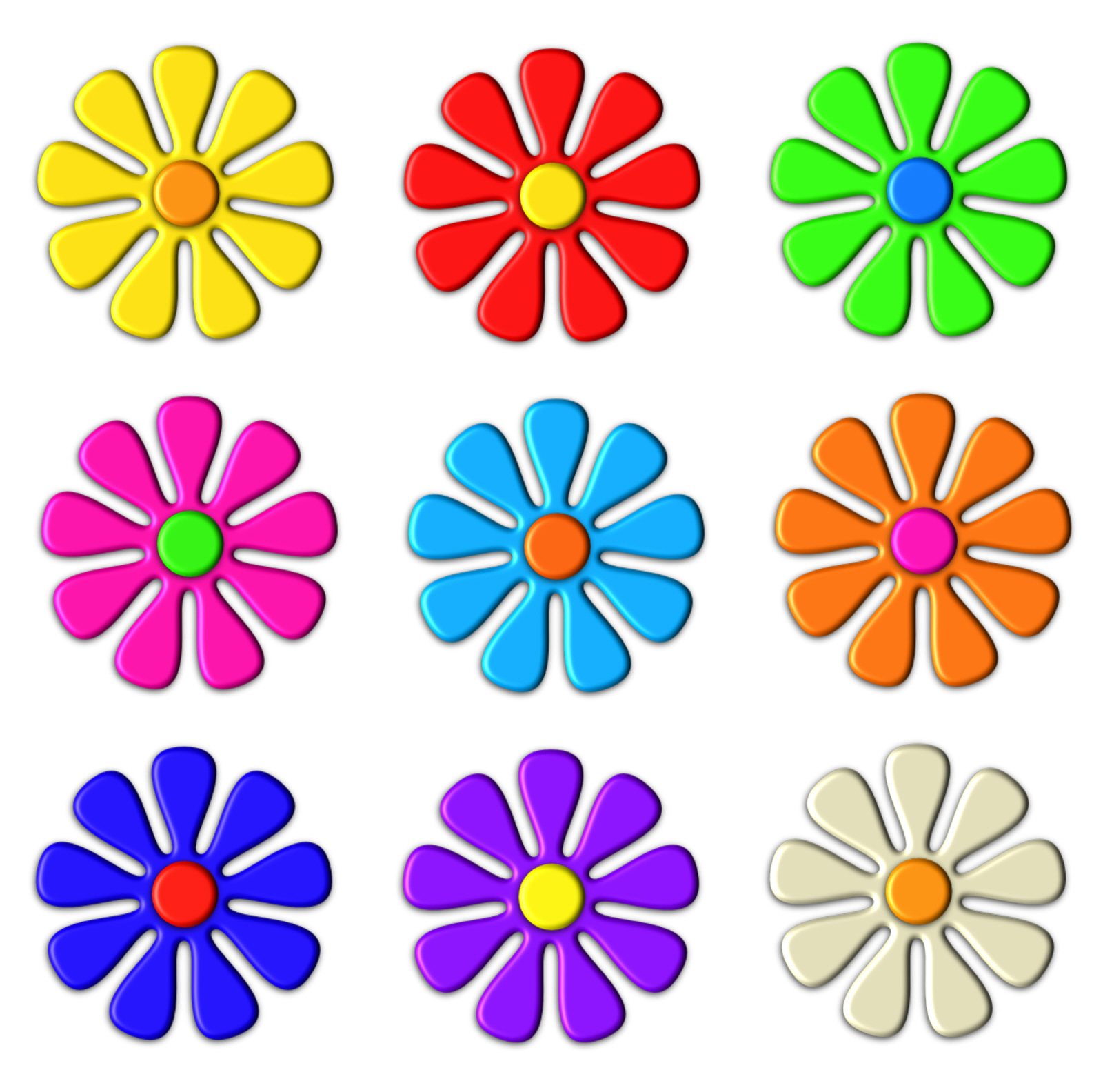 Free Stock Photo 9075 colourful 3d flowers.