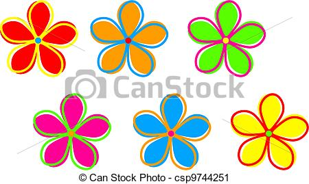 Clipart of Funky Retro Flowers.
