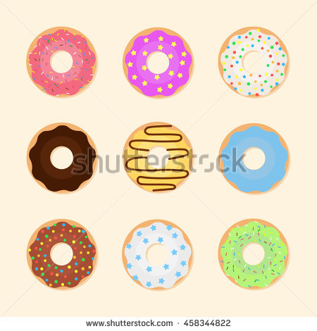 Seamless Pattern Glazed Colorful Donuts Vector Stock Vector.