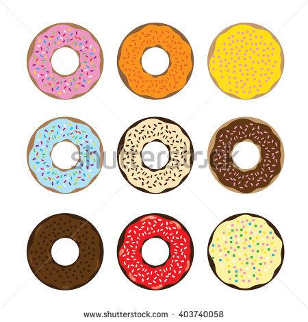 Vector Set Cartoon Donuts Stock Vector 102862457.