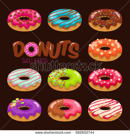 Set Cartoon Colorful Donuts On White Stock Vector 233097343.