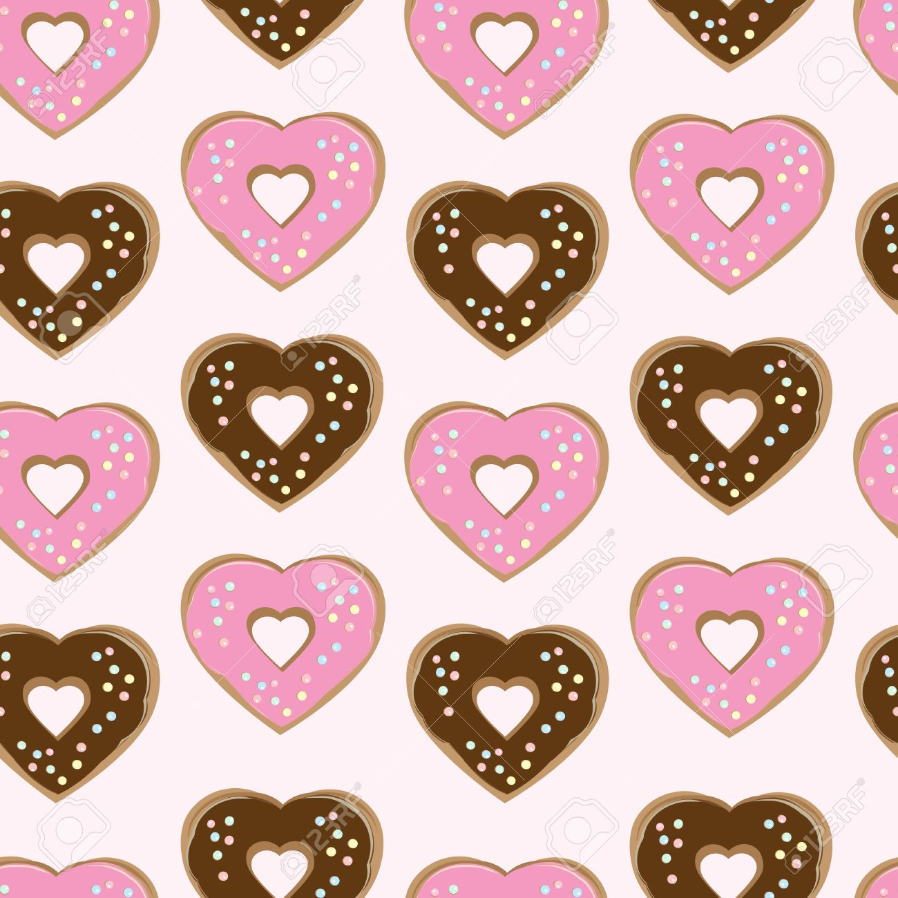 Assorted Heart Shaped Doughnuts Glazed With Chocolate And Pink.