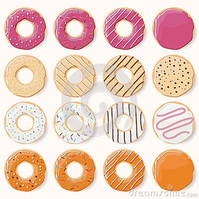 Colorful Glazed Donuts Stock Photo.