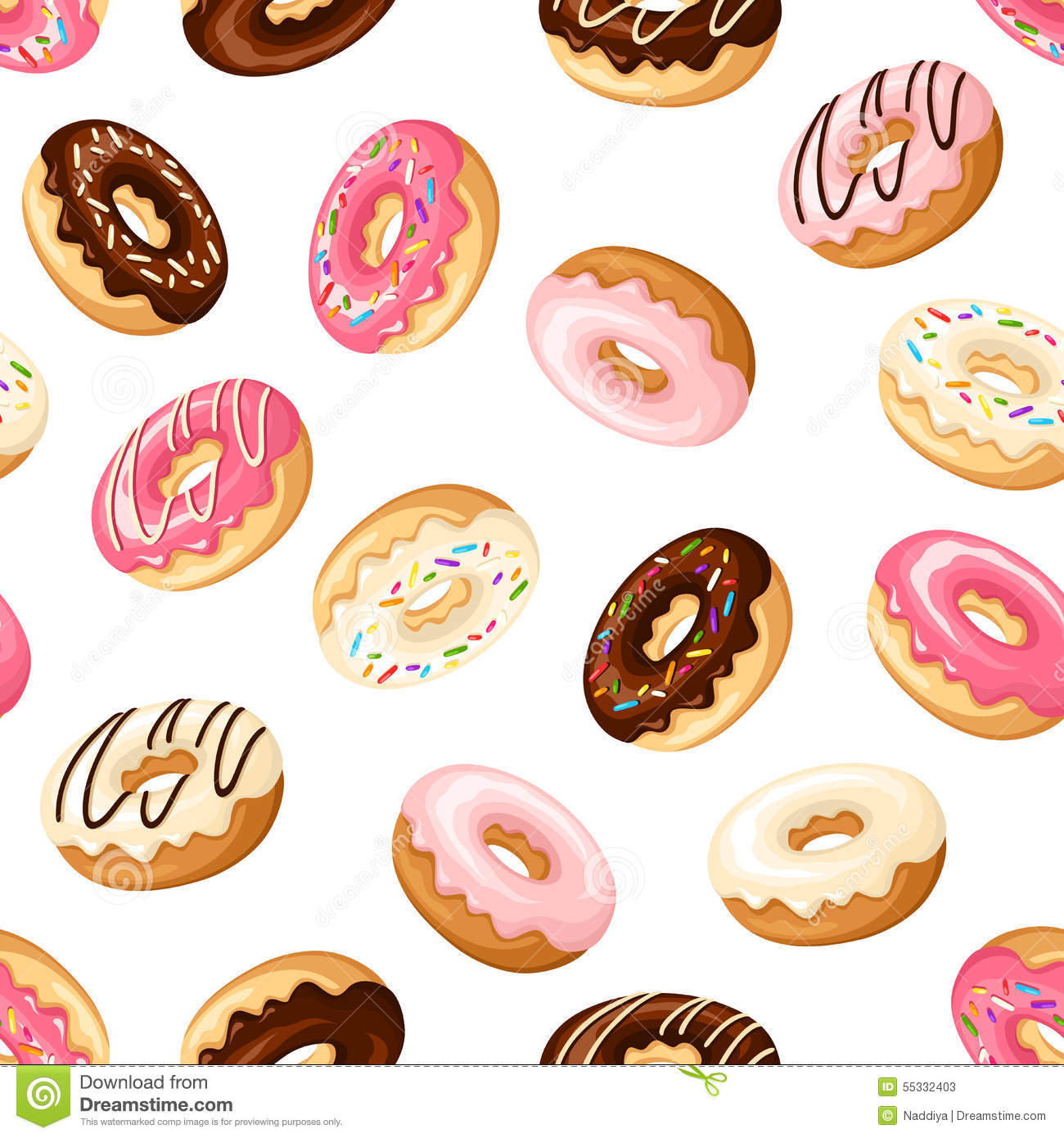 Seamless Background With Donuts. Vector Illustration. Stock Vector.
