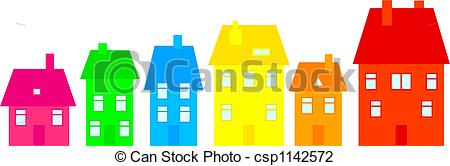 Clip Art of colourful town.