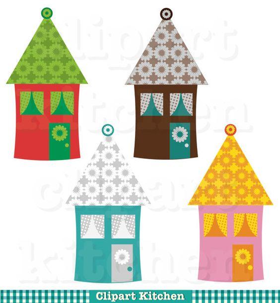Colourful Houses Digital Clipart Set.