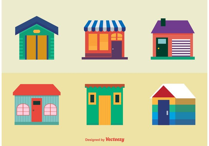 Colourful Houses Icons.