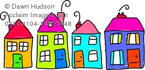 Clipart Image of A Street Of Colourful Houses.