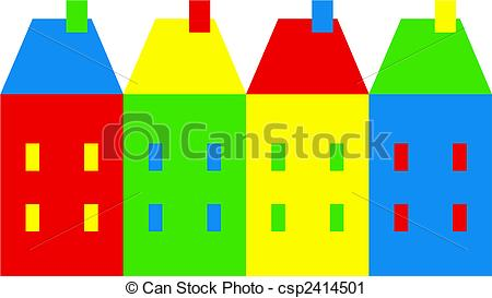Clipart of colourful village.