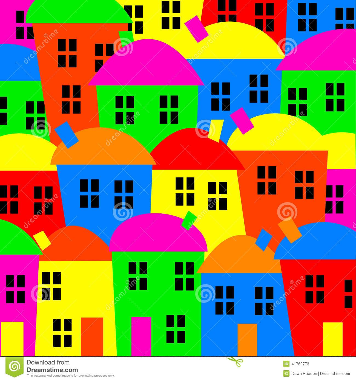 Colourful Village Stock Illustration.