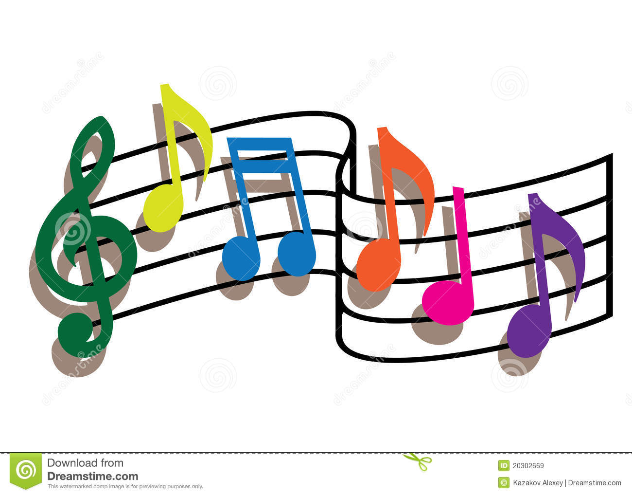 Coloured Music Note Clipart.