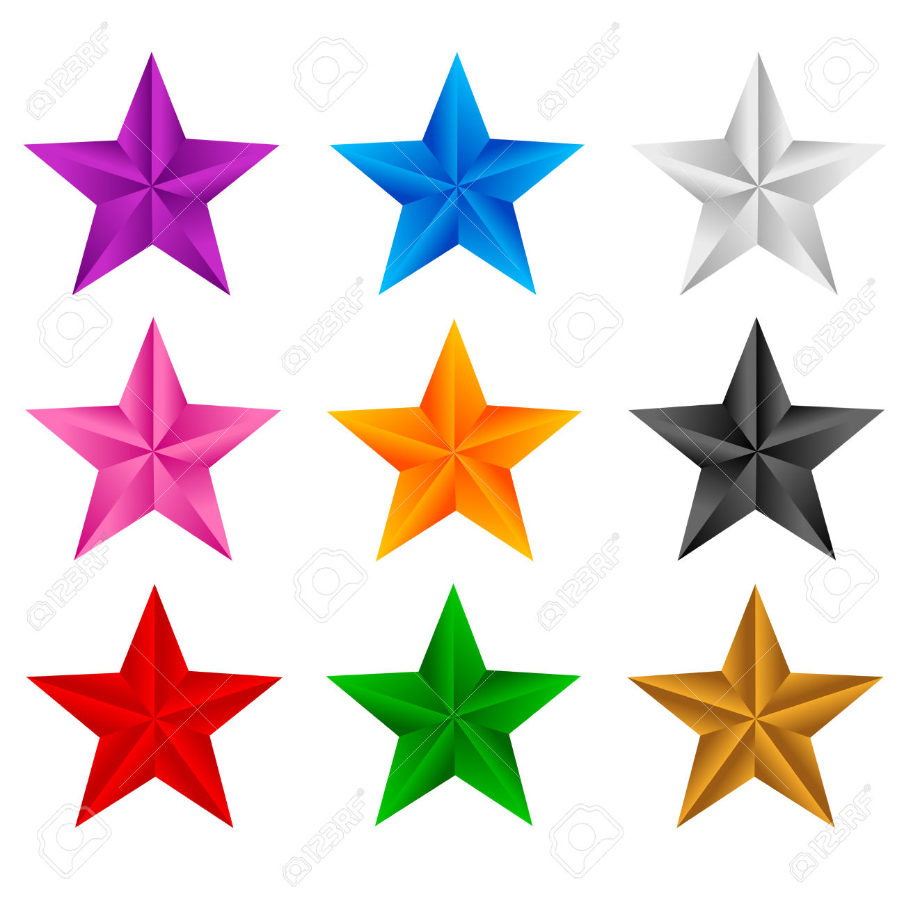 Colorful Stars Clip Art.