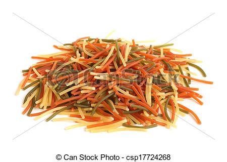 Stock Image of Colored Italian pasta (vermicelli) on white.