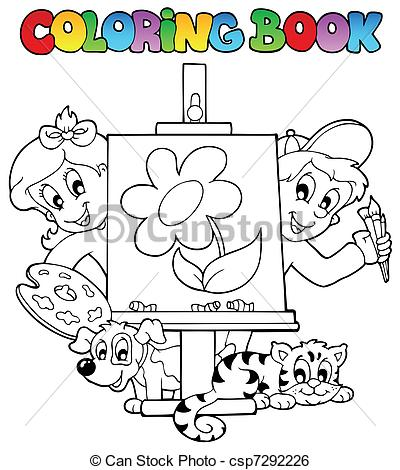 Clip Art Vector of Coloring book with kids and canvas.