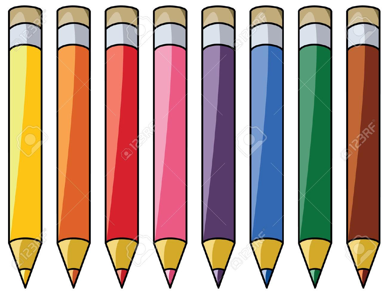 Imágenes Prediseñadas De Lápices De Colores Ilustraciones.