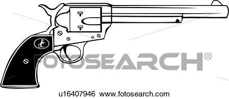 , colt 45, gun, revolver, six shooter, weapon, western, Clip Art.