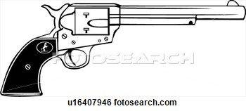 colt 45, gun, revolver, six shooter, weapon, western, Clip Art.
