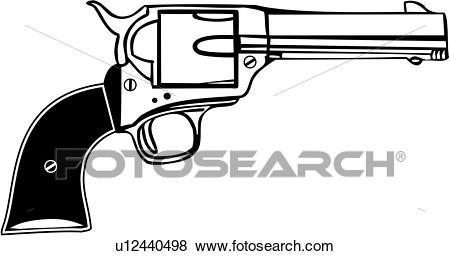 , colt 45, gun, revolver, western, weapon, Clip Art.