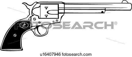 colt 45, gun, revolver, six shooter, weapon, western, Clip Art.