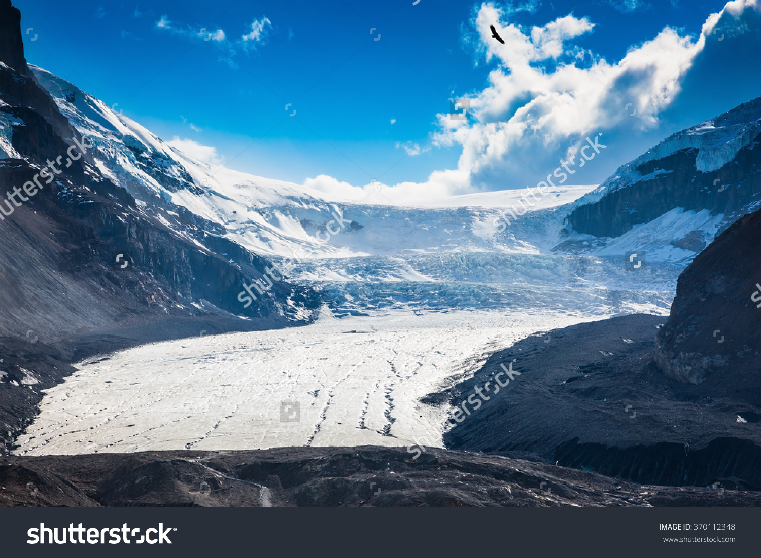 Melting Columbia Icefield In Banff National Park, Canada. The.