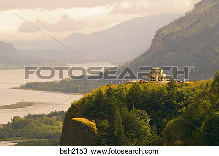 Stock Photo of Crown Point Vista House from Chanticleer Point.