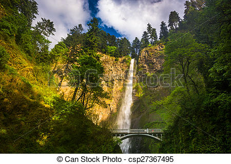 Stock Photographs of Multnomah Falls and bridge, in the Columbia.