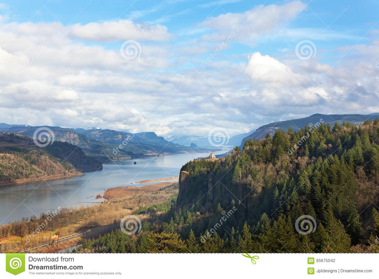 Crown Point Overlooking Columbia River Gorge Daytime Stock Photo.