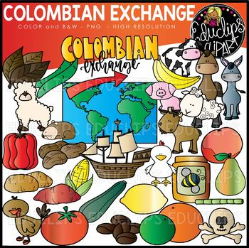 Colombian Exchange Clip Art Set {Educlips Clipart}.