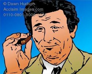 Clipart Illustration of Detective Columbo TV Character Columbo.