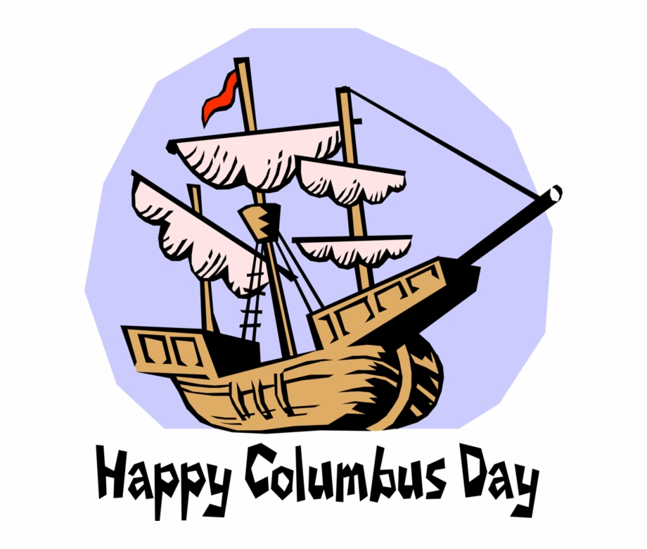 Vector Illustration Of Columbus Arrives In America.