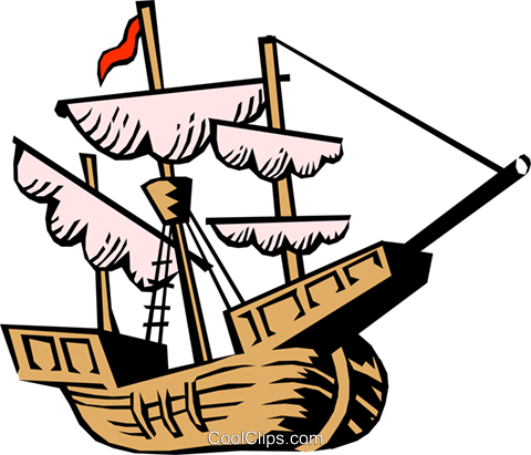 Christopher Columbus' ship Royalty Free Vector Clip Art illustration.