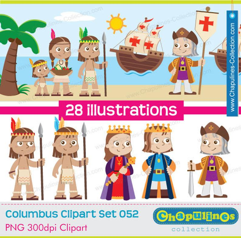 60% off Columbus Clipart, The Discovery of America, Columbus day Set 052B.