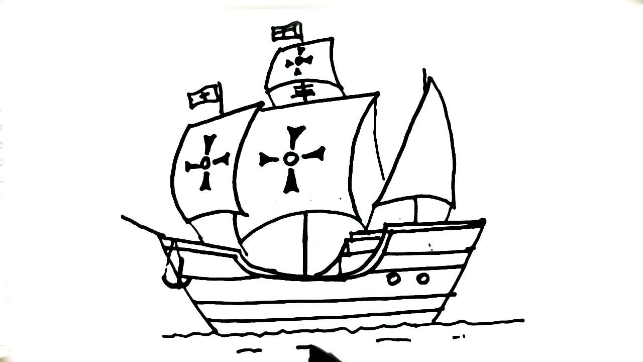 How to draw La Santa María,Ship of Christopher Columbus.