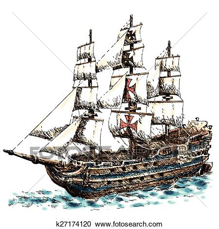 Columbus ship Clipart.