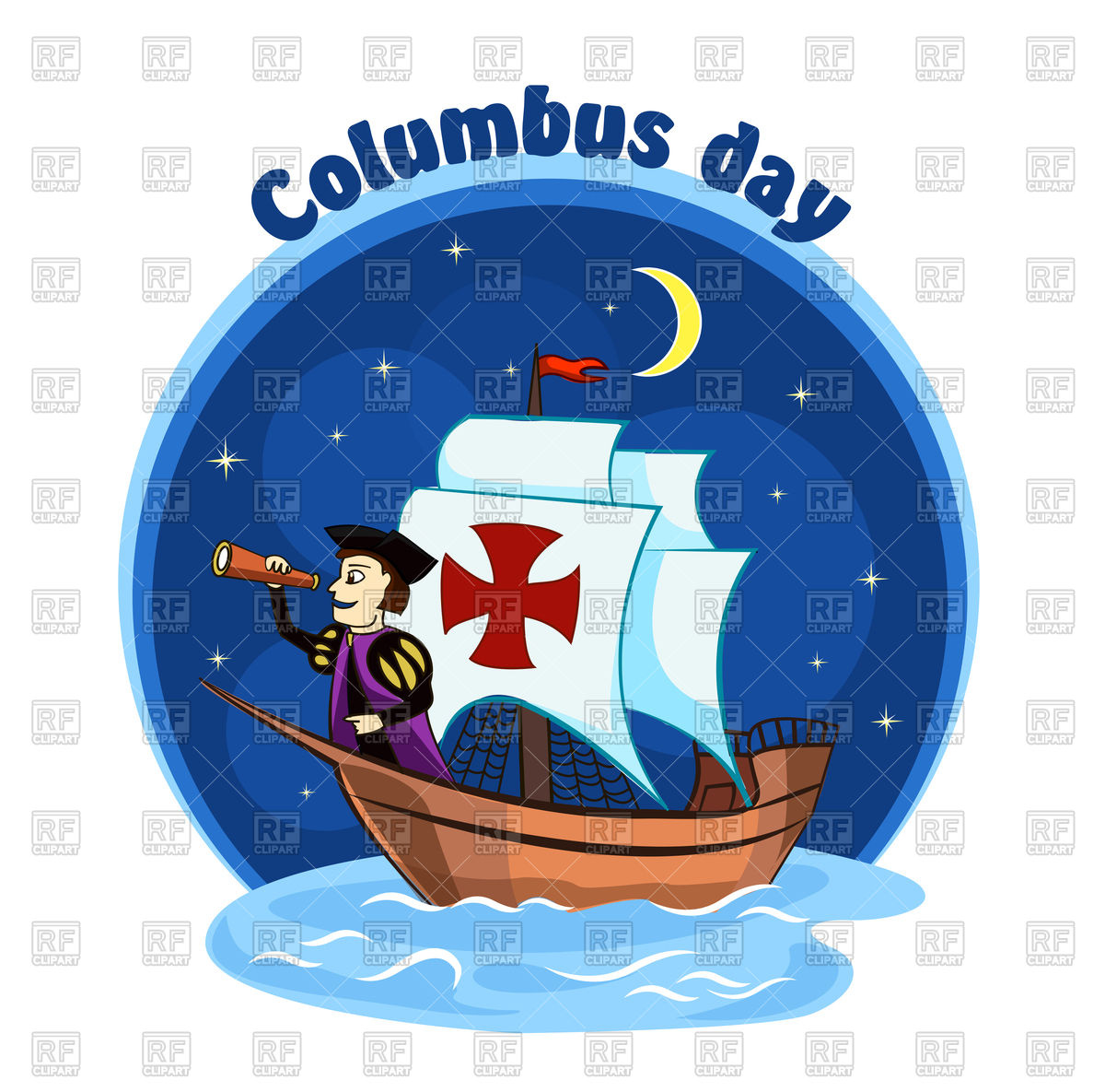 Columbus on ship Stock Vector Image.