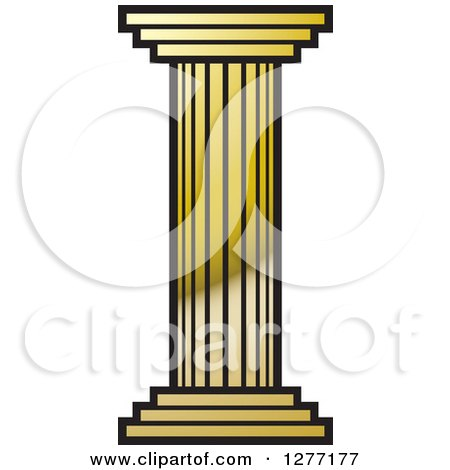 Clipart of a Gold Pillar Column.
