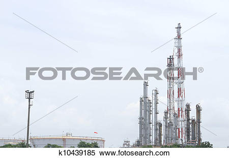 Stock Image of Oil and Gas Refinery Plant with distillation column.