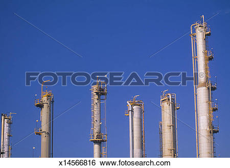 Stock Images of Distillation columns at an oil refinery x14566816.